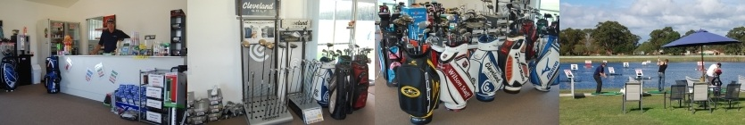 Main Page Image Collage Consisting Of The Proprieter Behing The Sales Counter, Golf Club Display Stand Inside The Shop, Golf Bags And Equipment Inside The Shop And People Playing Water Golf